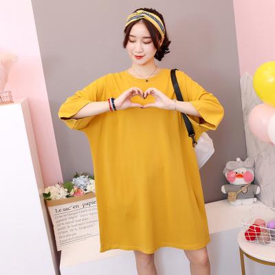实拍~夏季新款韩版纯色圆领t恤女中长款短袖宽松大码半袖体恤