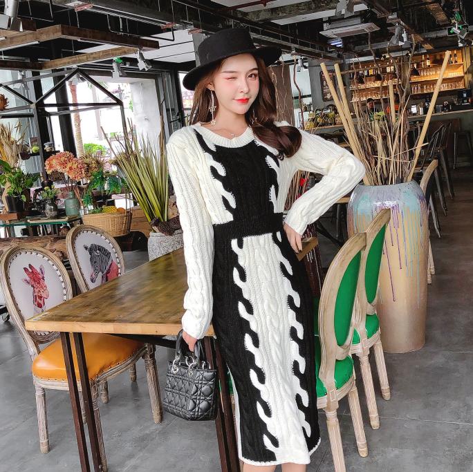 chic网红针织连衣裙秋冬季女装2018新款圆领修身显瘦毛衣打底长裙