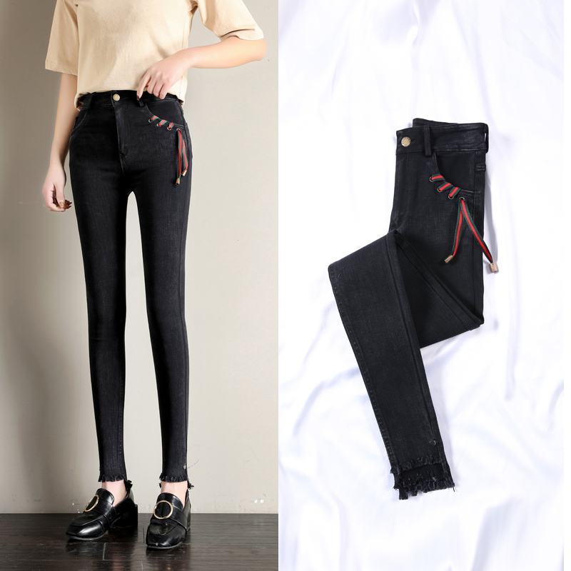 Real Shot Outer Wear Leggings Female 2019 Spring New Style Korean-Style High Waist Was Thin Stretch Black Jeans