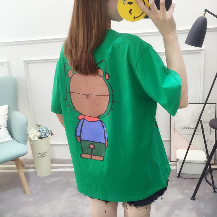 Real Shot  Summer plus Fertilizer XL Women Short Sleeve T-shirt Female Cartoon Bottoming Shirt 200 of Fat Mm Cotton