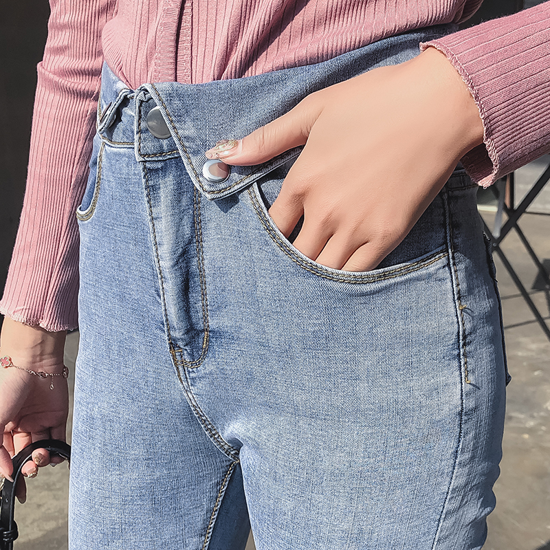 Jeans Female High Waist 2019 Spring New Style Slim Was Thin High Waist Pants Feet Korean-Style Chic Cropped Pants Tide