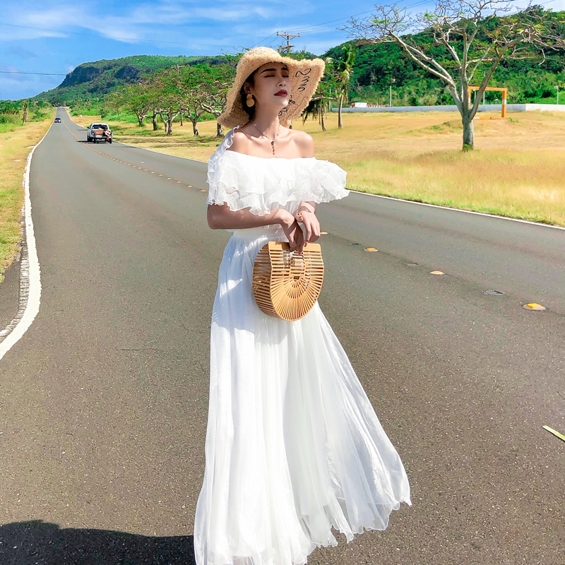 實拍 白色海南三亞沙灘裙女2019新款雪紡海邊度假連衣裙超仙長裙