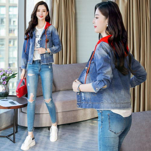 Denim Jacket Female Loose Spring And Autumn 2019 New Style Korean-Style Junior High School Students BF Short Hooded on Clothes