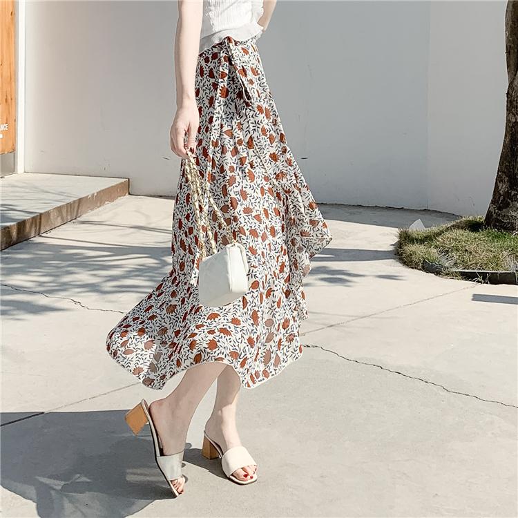 實拍 2019春夏新款不規則荷葉邊一片式系帶半身裙裹身裙沙灘裙