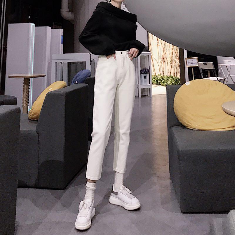 實拍實價 2019春夏直筒新款高腰哈倫褲牛仔褲刺繡老爹長褲