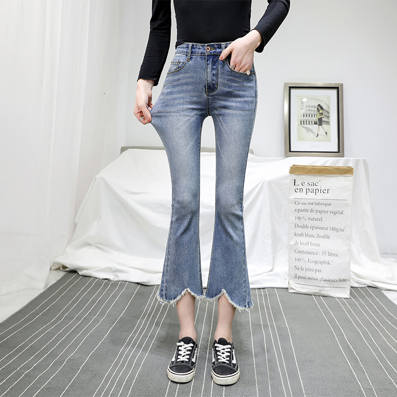 Real Shot 2019 New Style High Waist Micro-Horn Jeans Female Cropped Pants Flash Tassled Stretch Flared Trousers Slim-Fit Pants