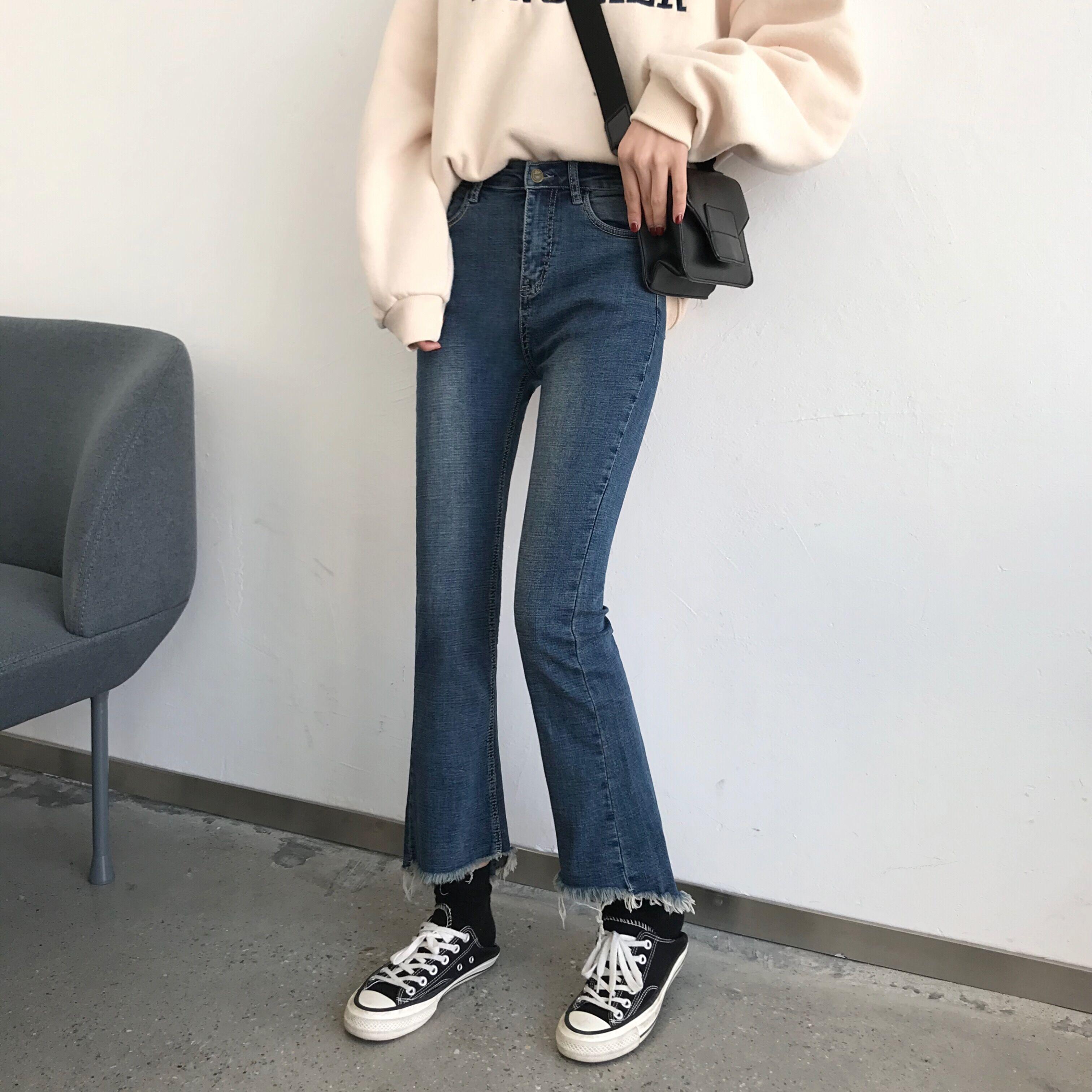 实拍新款韩版高腰弹力修身喇叭裤不规则后开叉九分裤女