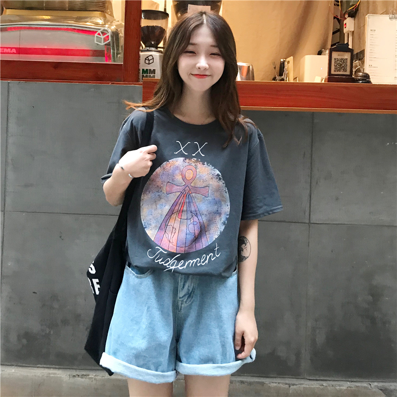 2019 New Style Tarot Cards Printed Short Sleeve Female Loose BF Net Red Celebrity Inspired T-shirt European And American Popular Brand Couple's