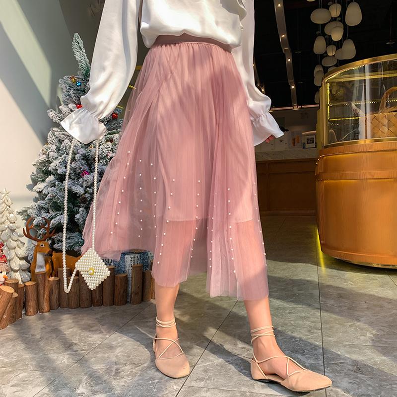 网纱裙仙女裙长裙女春装2019新款高腰钉珠ins超火的半身裙一步裙