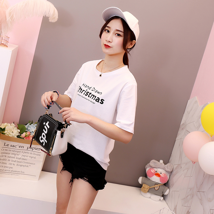 Real Shot  Summer New Style Korean-Style Shirt Top Basic Solid Color Cotton Loose Letter T-shirt Short Sleeve