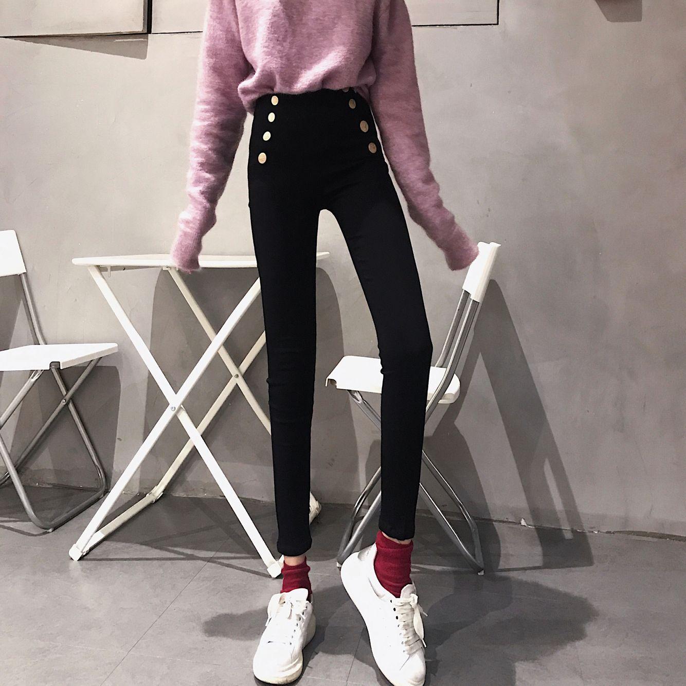 實拍實價 韓版修身顯瘦高腰雙排扣黑色小腳褲子女外穿打底魔術褲
