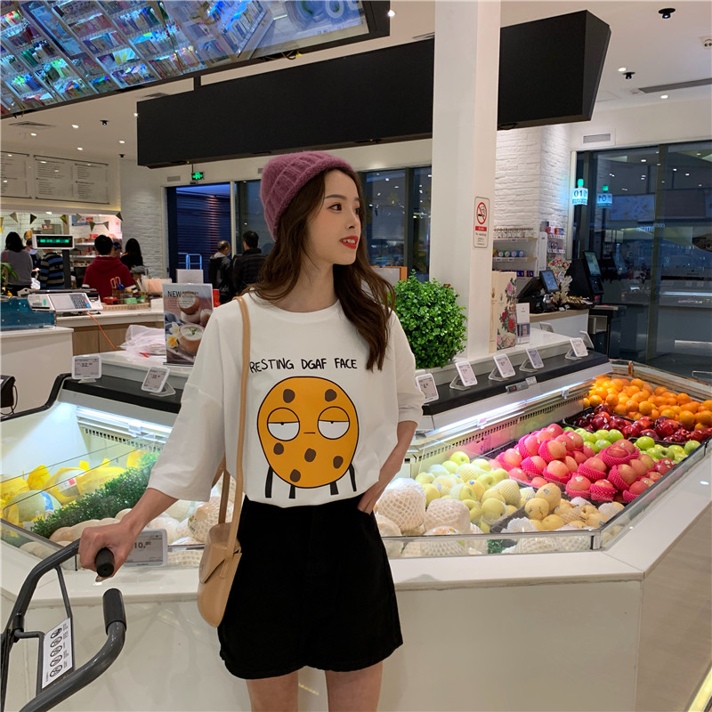 Real Shot Summer New Style Net Red Big Board Ins Loose Wild Cartoon Letter Short-Sleeve T-shirt Blouses Tide