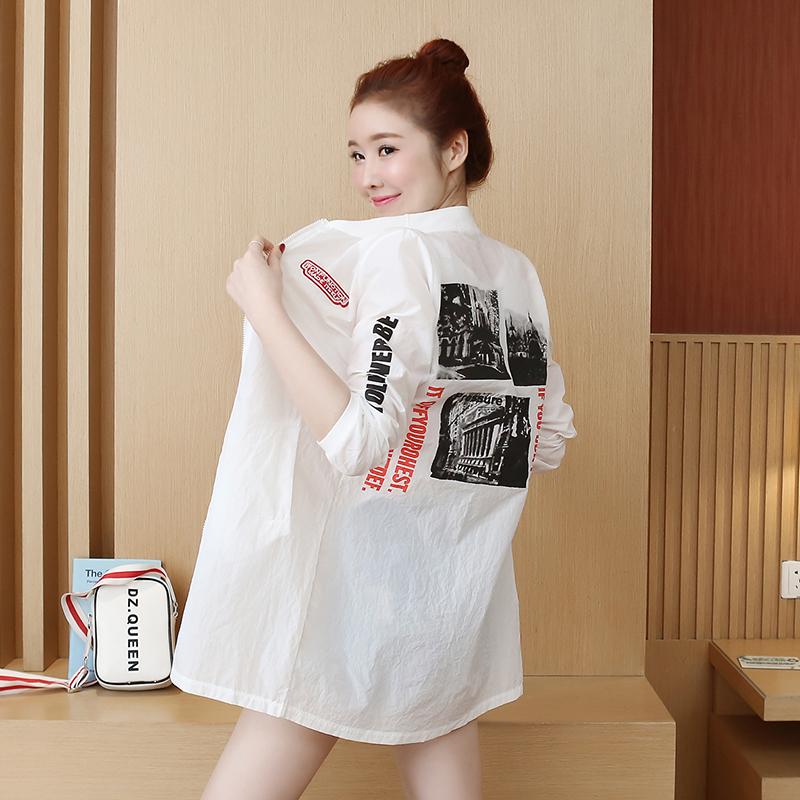 실컷 얇은 섹션 들어 갔어 의류 여성 긴 코트 2019 여름 느슨한 야구 유니폼 셔츠 여성 의류의 여름 새로운 한국어 버전