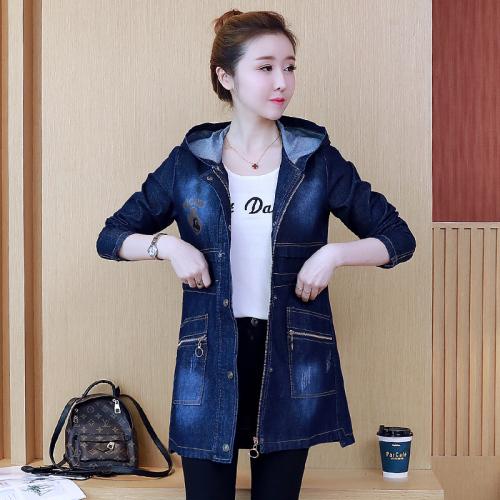 리얼 샷 2019 년 봄, 가을 신 여성용 긴팔 프린트 데님 자켓 윈드 브레이커 여성용 버전
