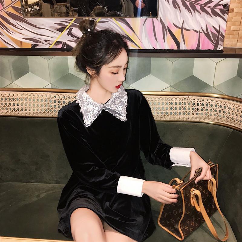 實拍實價 2019春韓版蕾絲領復古風雙層領連衣裙黑色絲絨短裙