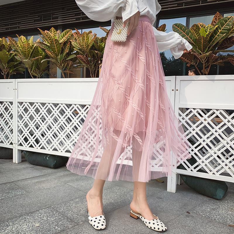 网纱半身裙女2019春夏新款高腰ins超火的裙子中长款仙女裙