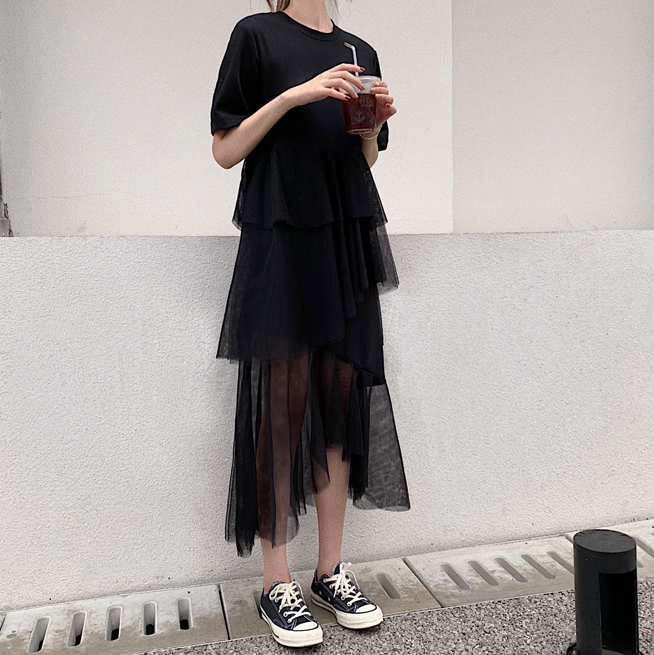 大量现货实拍?#23548;踾2019?#21512;?#26032;款韩版短袖不规则连衣裙拼接网纱裙