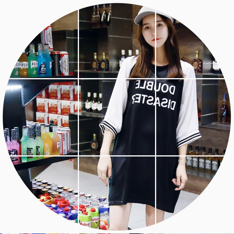 2019夏季宽松大码女装中长款T恤裙学生韩版休闲黑色上衣服ins显瘦