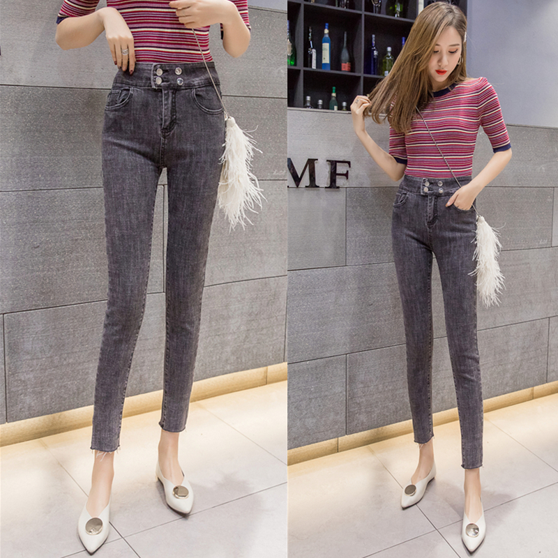 Vintage High Waist Cut-off Jeans Female 2019 New Style Korean-Style Tight Was Thin Wild Jorg Gray Pencil Pants Cropped Pants