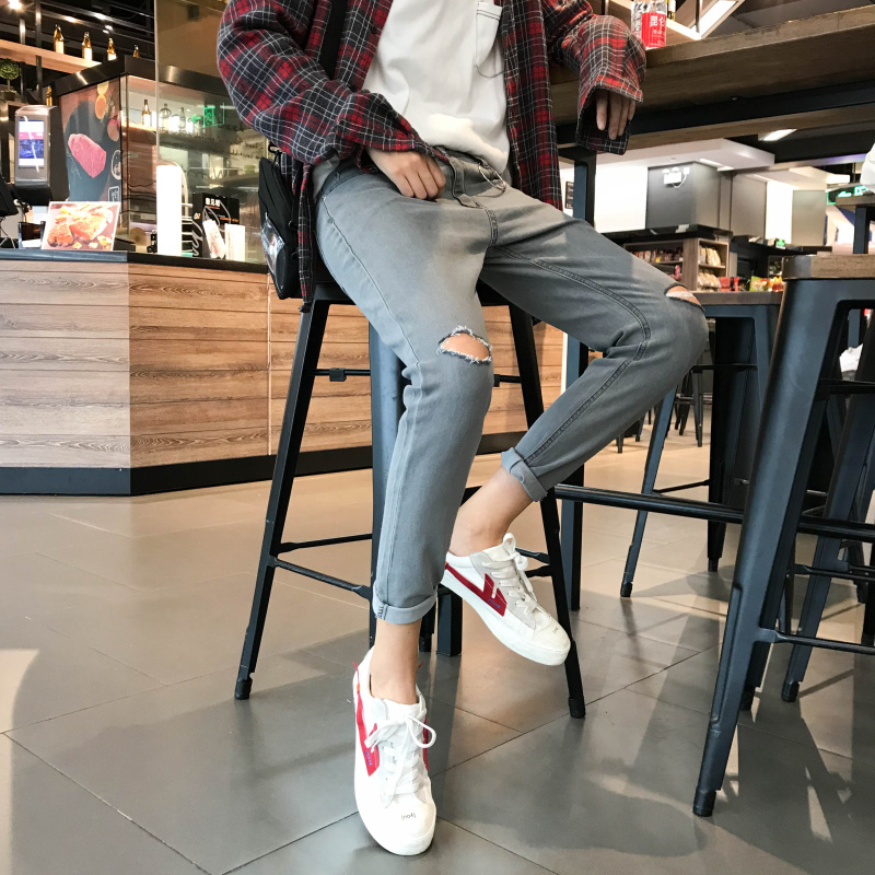 Stretch Men's Cropped Jeans Spring New Style Korean Version of the SLIM Trend Hole 9 Points Pants Feet Wild Pants VIC0708