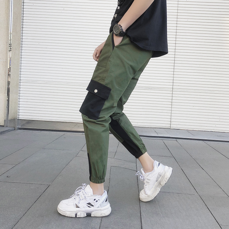 Cargo Pants Men's Korean Version of the Trend Spring And Autumn Popular Brand Loose Cropped Beam Feet Leisure Pants Male
