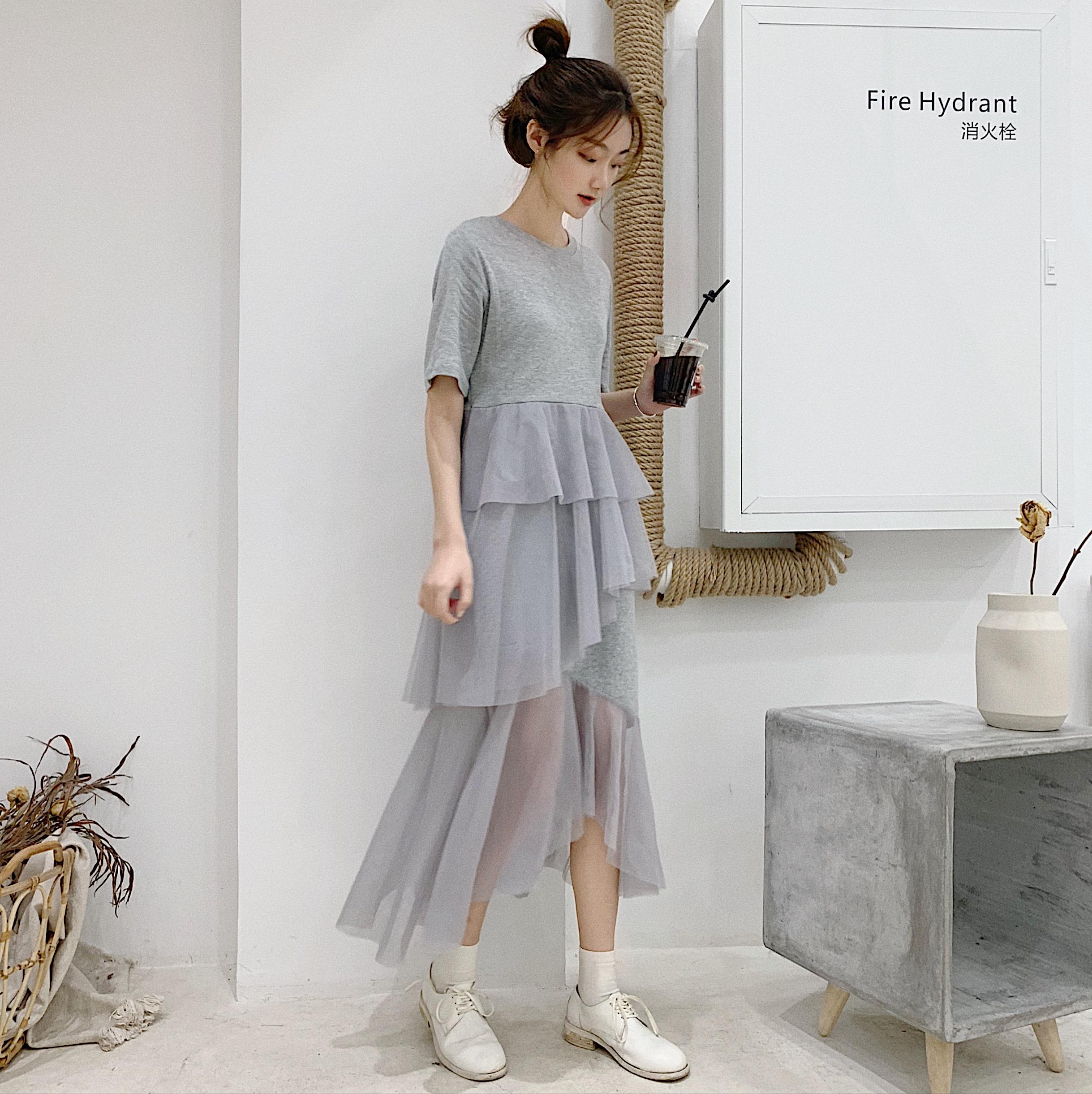 ?#36136;?#25293;?#23548;踾2019?#21512;?#23395;新款韩版短袖不规则连衣裙拼接网纱裙