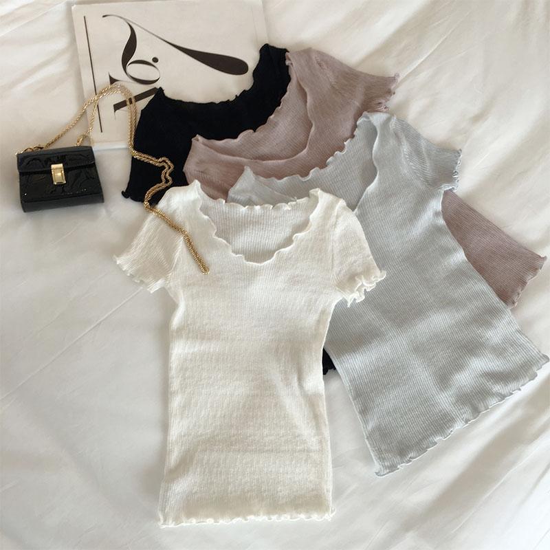 夏季女装冰丝短袖薄针织衫女套头短款百搭修身上衣女潮