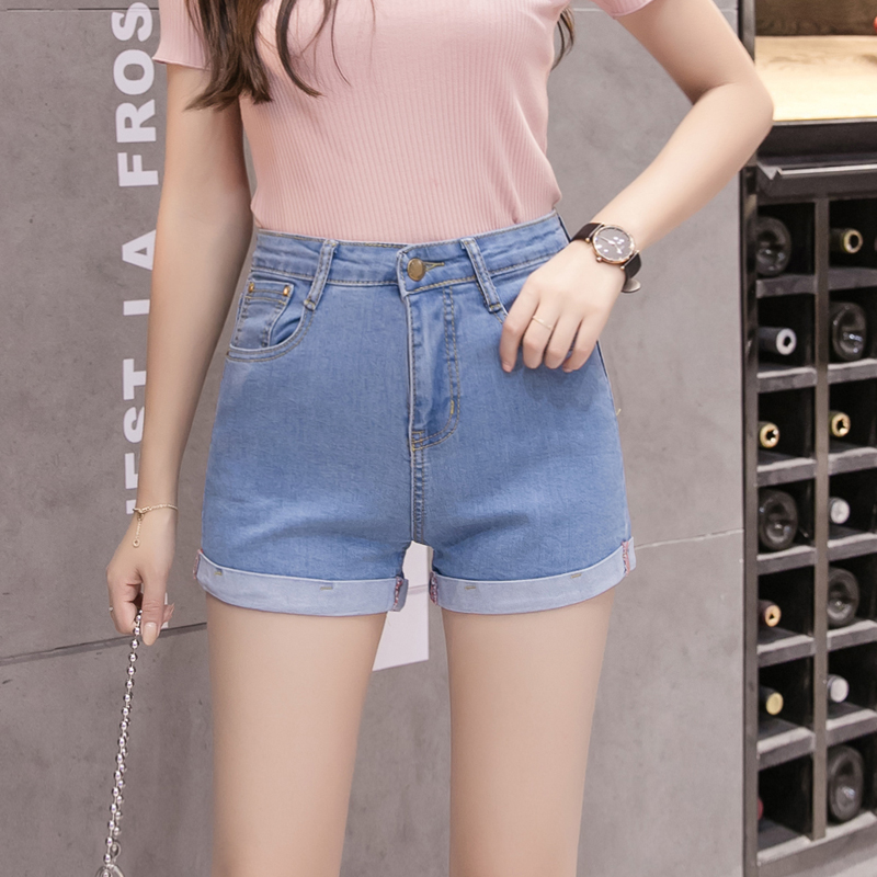 Denim Shorts Female Summer 2019 Korean-Style Versatile Rolled Elastic High Waist Students Jeans Solid Color Slim Fit Hot Pants