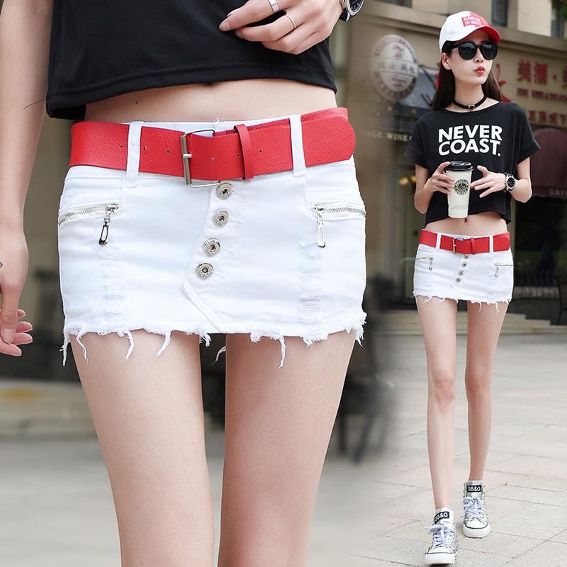 New Style Korean-Style Breasted Stretch Denim duan ku qun Slim Hip Fashion Hole Anti Emptied Mock Two-Piece Hot Pants