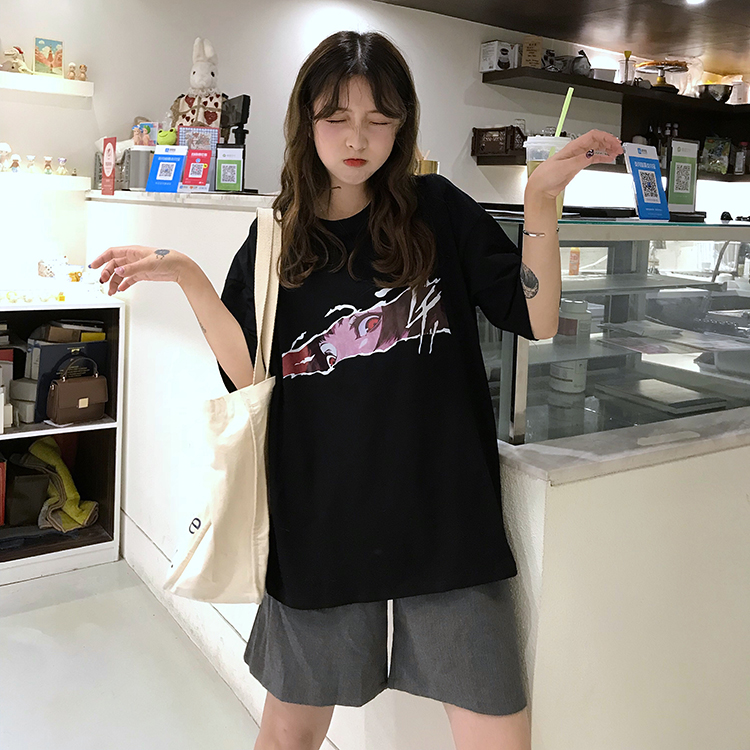 Real Shot  INS Short Sleeve T-shirt Female 2019 Loose Korean Version of the Influx of Students Lazy Wind Lost Department of Wild mschf Top