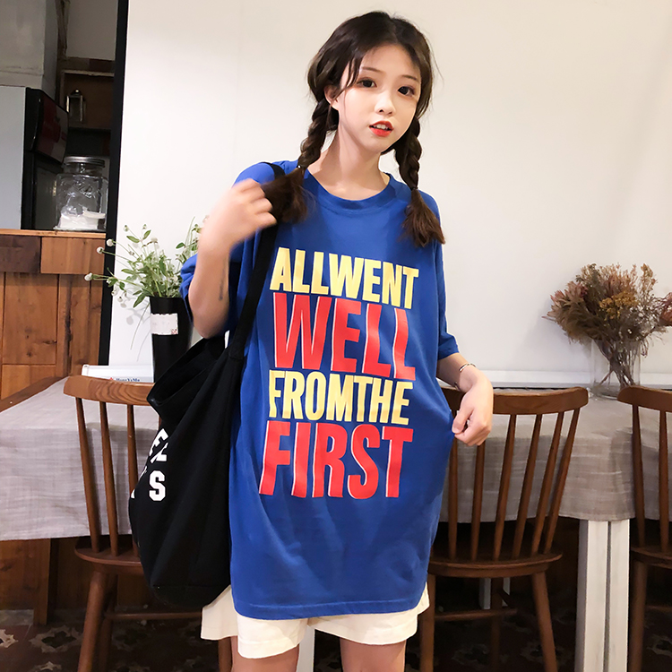 Real Shot  2019 Summer New Style Women mschf Top Versatile Students Korean-Style T-shirt Female Lost Department of Clothes Lazy Wind