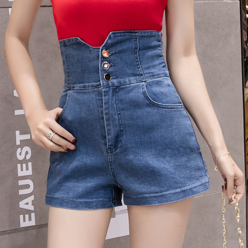 Real Shot 2019 New Style Fashion Denim Shorts Korean-Style Slim Fit Elastic High Waist Shorts Waist Package Hip Hot Pants