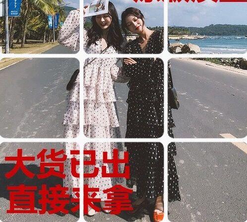 法式复古波点雪纺很仙的法国小众连衣裙沙滩长裙超仙女裙chic温柔