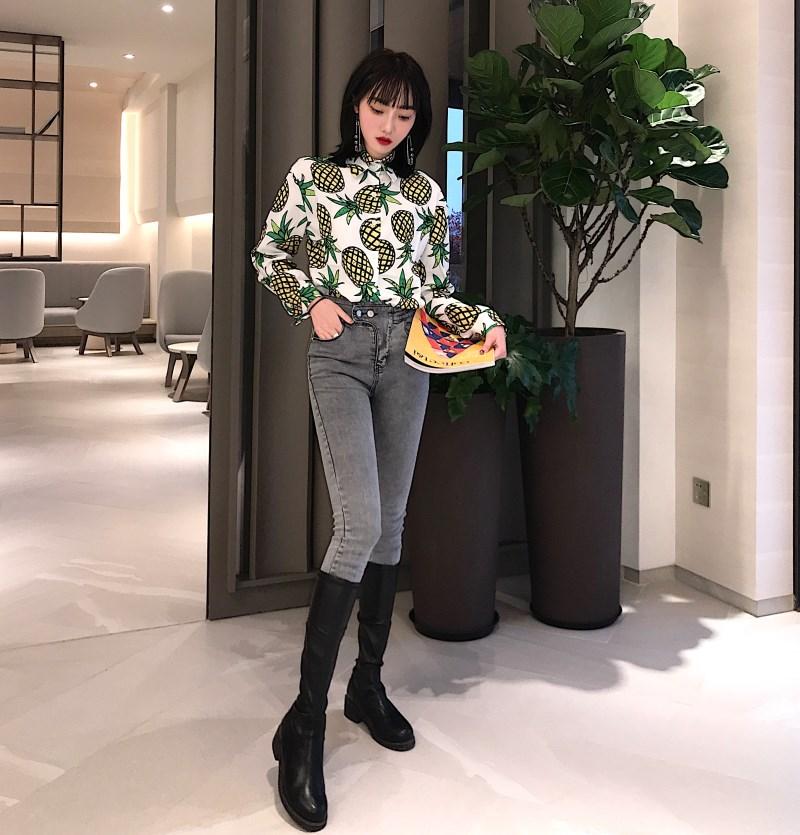 實拍 2019早春新款菠蘿印花長袖襯衣+高腰九分鉛筆彈力小腳褲