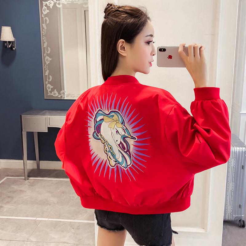 实拍2019春季新款红色棒球服bf短款外套女韩版宽松学生刺绣夹克