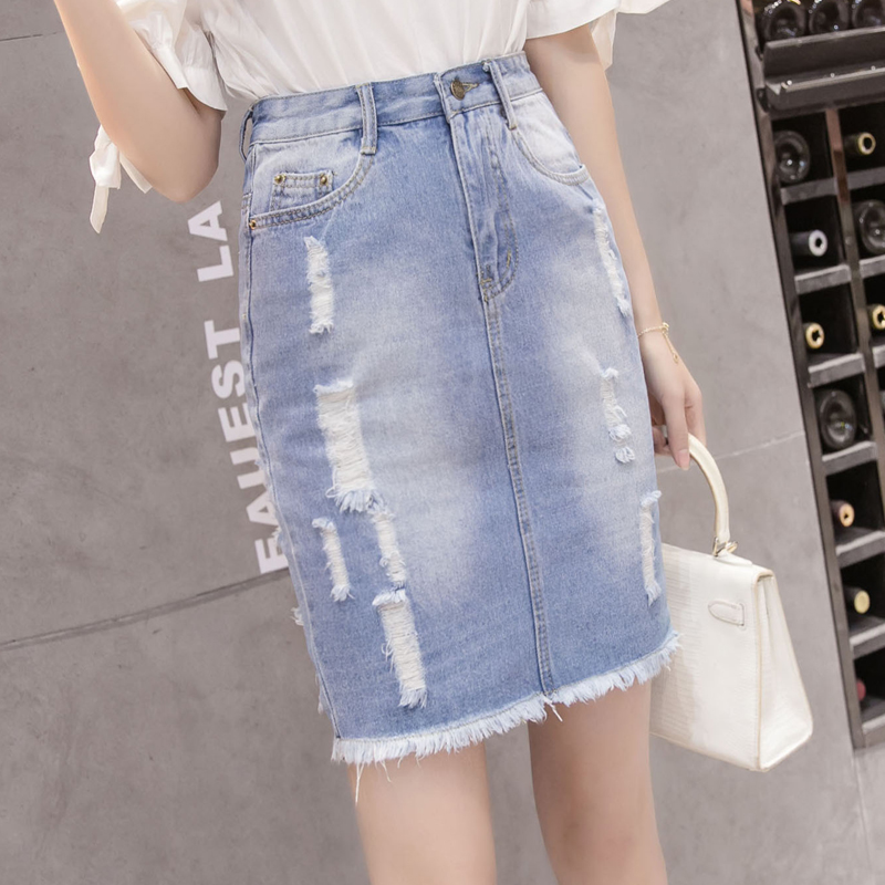 2019春季新款牛仔裙短裙百搭高腰包臀裙a字半身裙女夏装短裙裙子