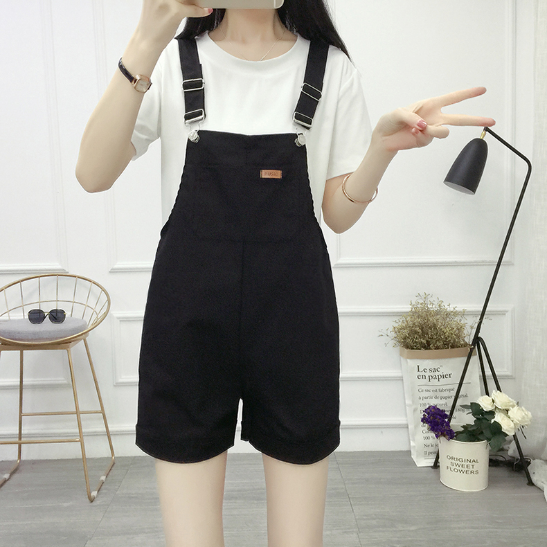 Sen Female Line Bib Set Women Spring-Summer Korean Version of the Loose Was Thin Students Cute Little Suspender Pants Two-Piece Set