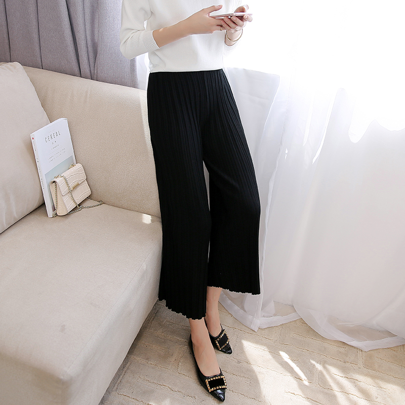 阔腿裤女ol范条纹大码春季2019新款时髦韩版高腰气质九分长裤