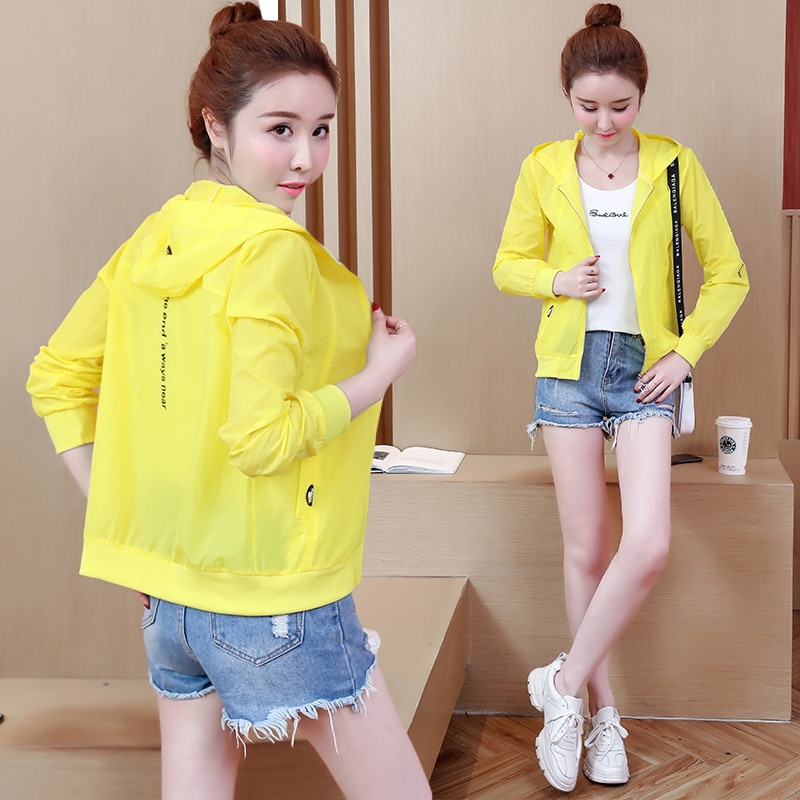 Real Shot 2018 Spring New Style Korean-Style Hooded Thin Short Coat Wild Fashion Cardigan Protective Clothing Top Female