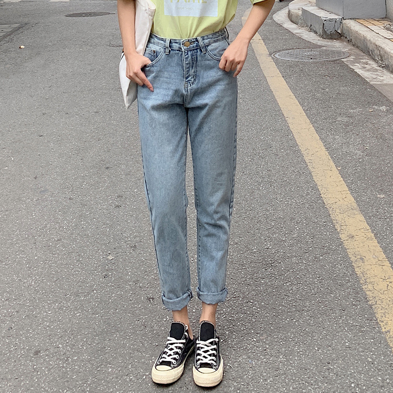 Real Shot Spring Jeans Female Loose Korean-Style Harem Pants High Waist Radish Chic Pants Straight Vintage Dad