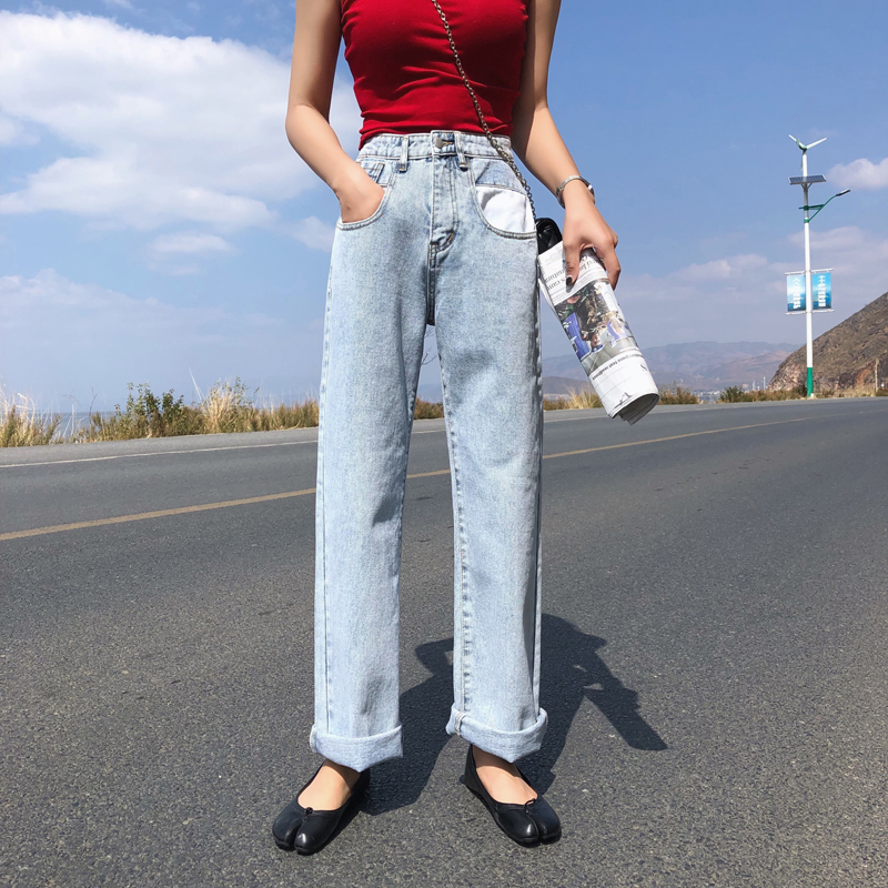 Limit 69 Real Shot Korea Dongdaemun High Waist Net Red Straight Loose Ulzzang Versatile Jeans Schoolgirl