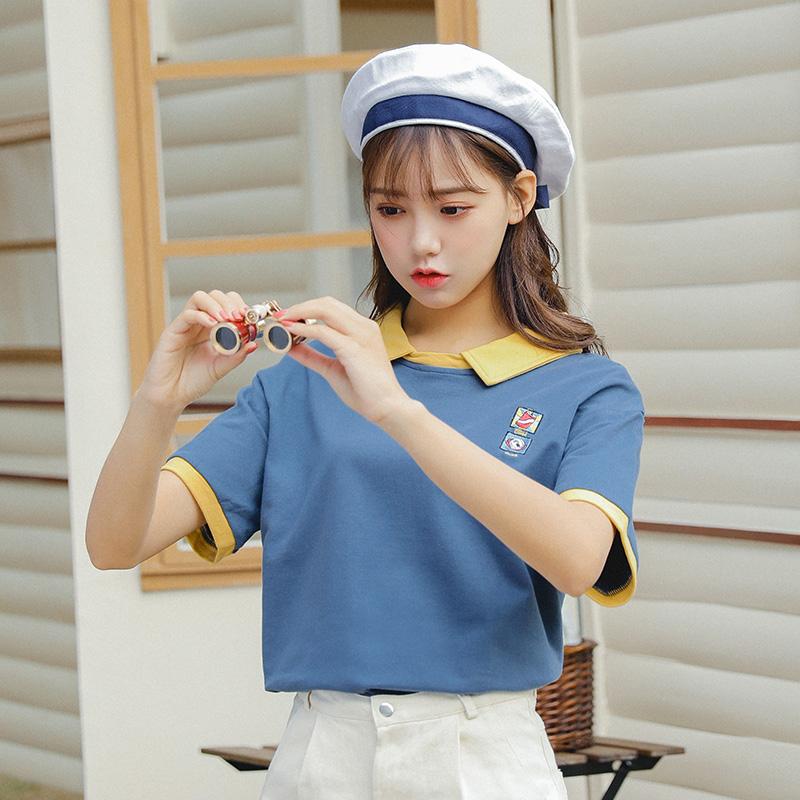 彈力純棉 學院風寬松刺繡T恤 實拍 2019夏裝 4