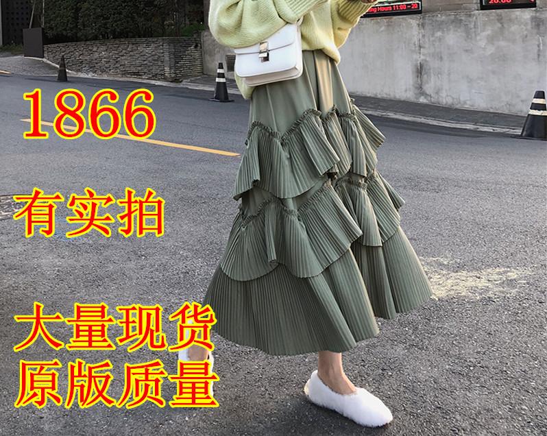A7seven 百褶蛋糕裙女秋季2018新款高腰顯瘦中長款A字裙子半身裙