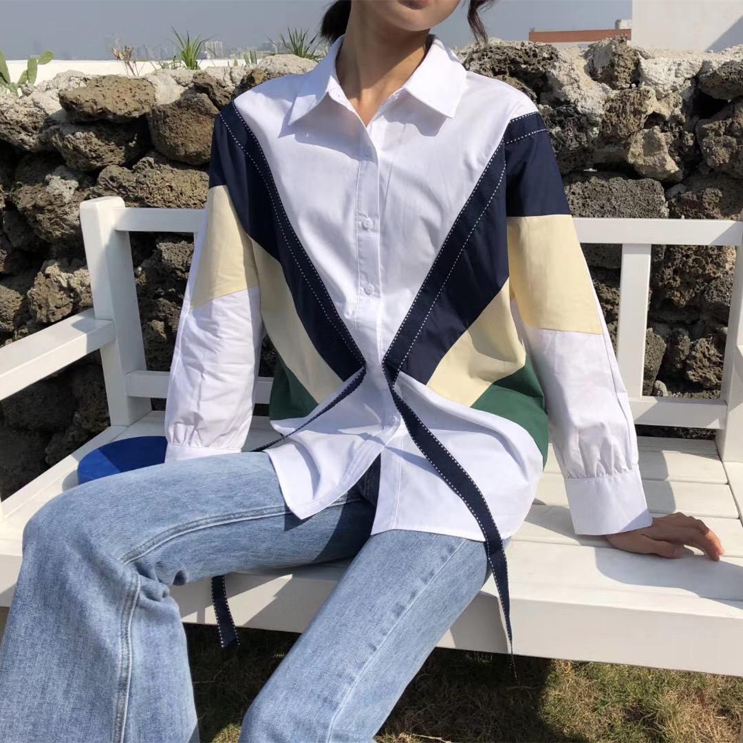 韩国ulzzang2019春装新款ins修身单排扣长袖撞色蝴蝶结百搭衬衫女