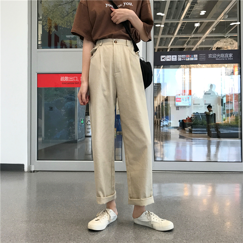 Price Control 39  Korean-Style High Waist Loose Wide Leg Pants Was Thin Straight Leg
