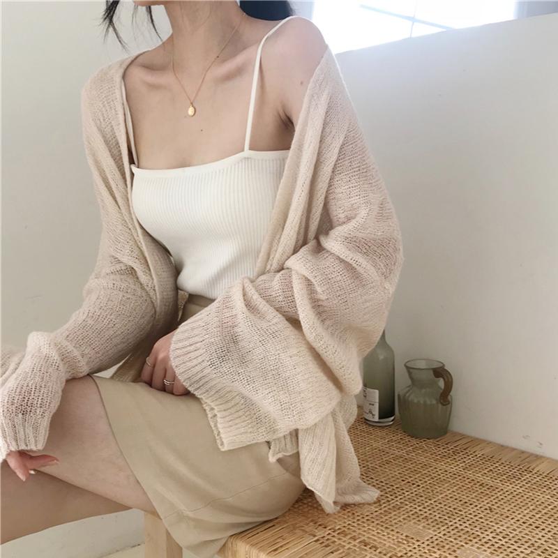 2019新款chic风慵懒宽松薄款长袖针织衫夏季百搭显瘦防晒衣开衫