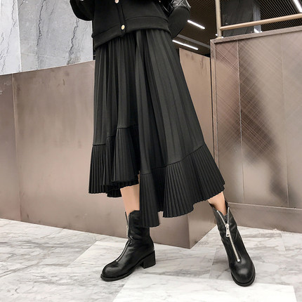 法式復古不規則魚尾裙黑色針織半身裙女春季中長款百褶長裙高腰潮