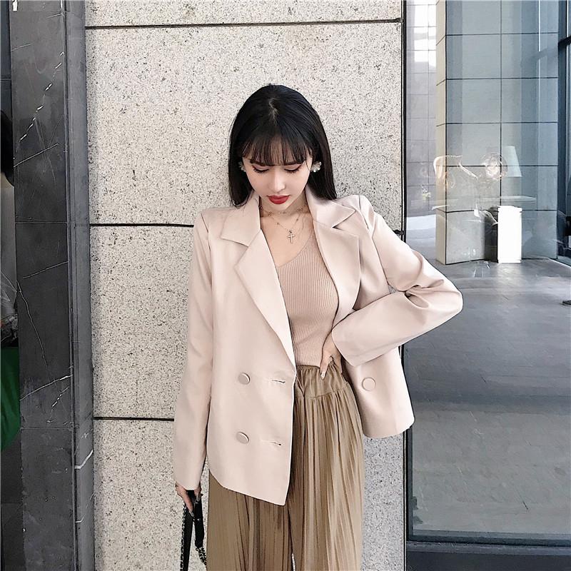 控價66元 實拍實價 韓版寬松短款小西裝女裝網紅西服小個子外套