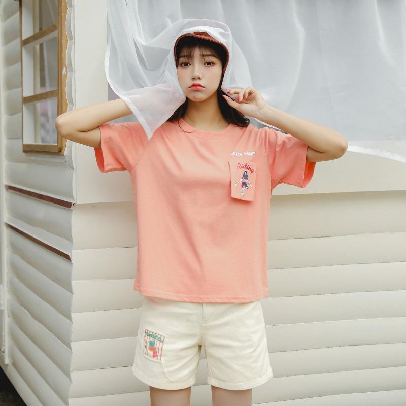 8123#珊瑚橙套裝 8123#T恤+6736#米黃短褲套裝