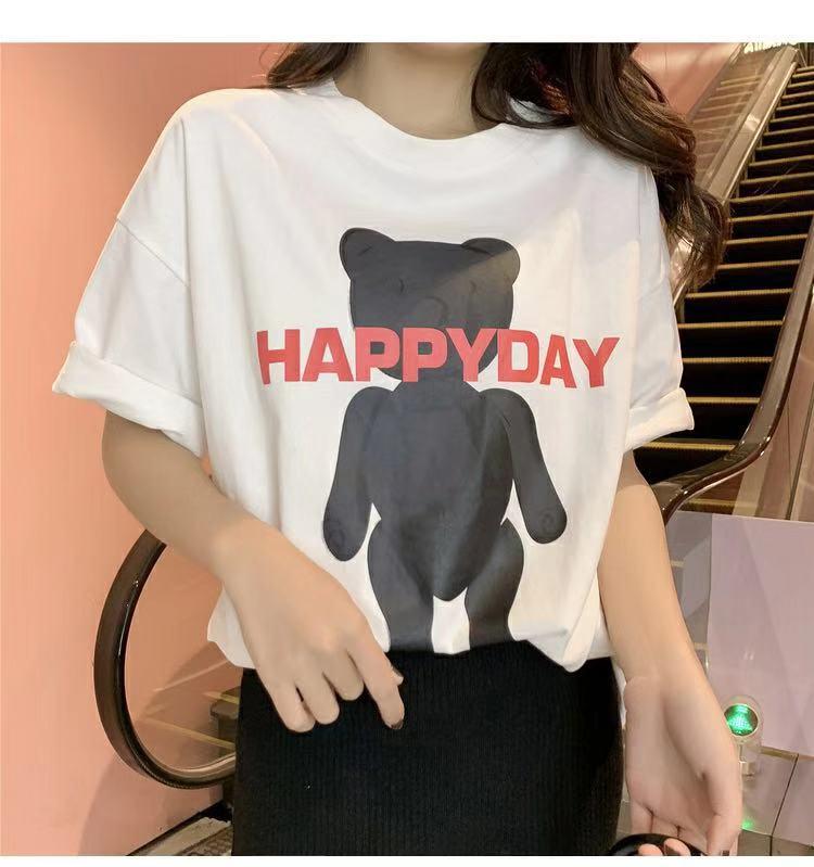 2019春季新款韩版小熊印花黑色短袖T恤女学生宽松打底体恤上衣潮